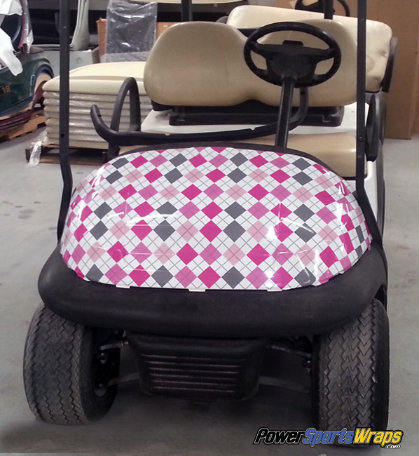 Argyle-gray-pink-golf-car-wrapping-vinyl