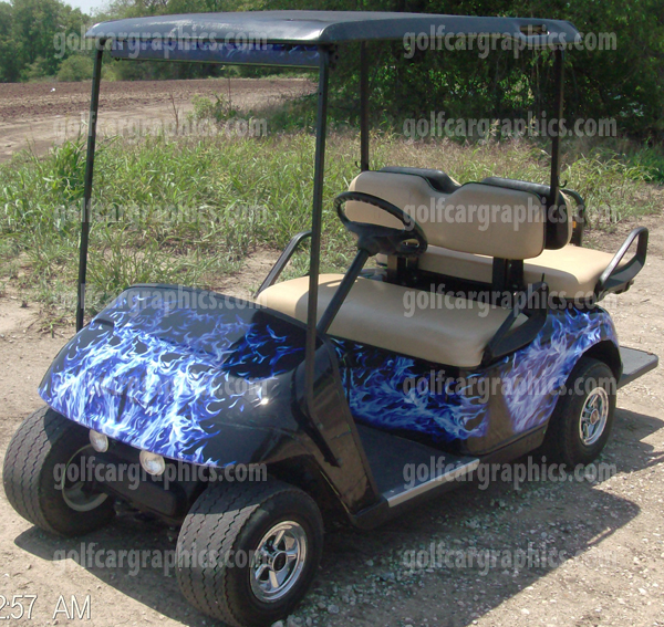 Golfcar Wrap New Blue Flame